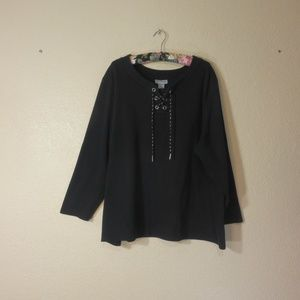Liz & Me for Catherine's Woman Black Blouse 2X